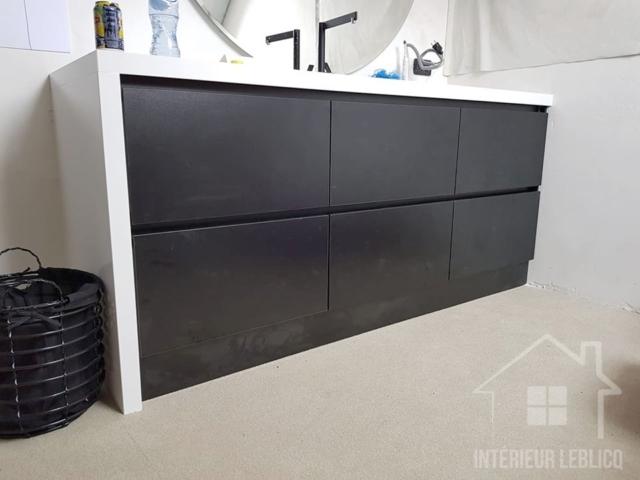 Meuble de salle de bain noir et blanc design et pratique