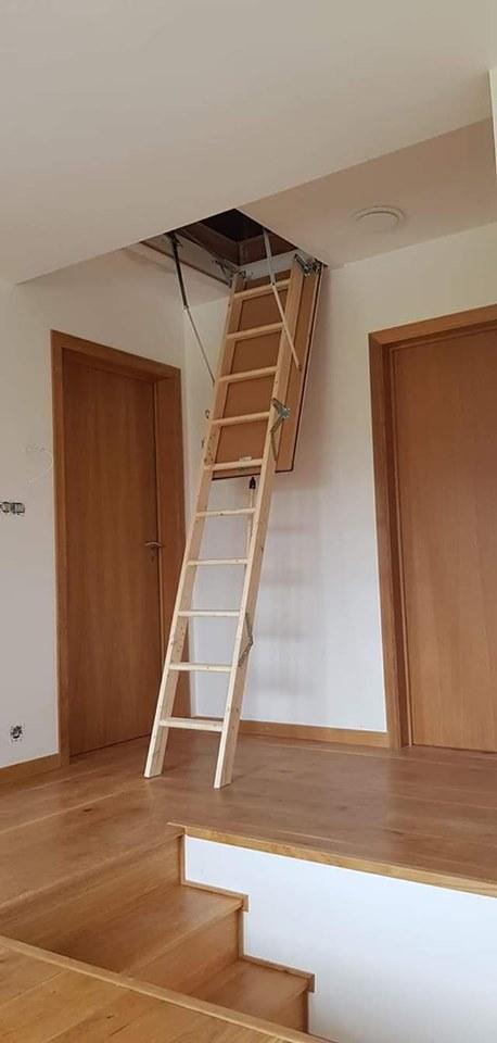 Fabrication et pose d'un escalier, de portes et d'une trappe grenier