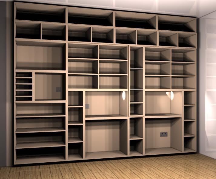 Dessin 3D meuble salon cubique avec espaces de rangement et prises encastrées  - Mobilier sur mesure