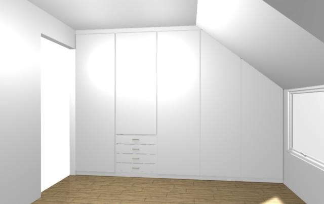 Visualisation en 3D d'un dressing en sous-pente blanc avec des étagères. Possibilité de voir le rendu en 360° avec notre casque de réalité virtuelle.