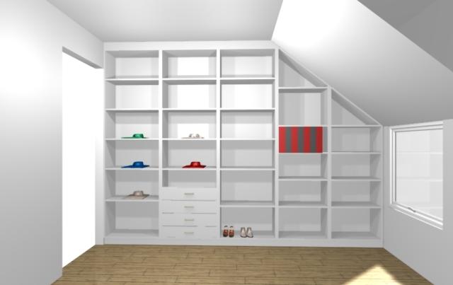 Visualisation en 3D d'un dressing en sous-pente blanc sans porte avec des étagères. Possibilité de voir le rendu en 360° avec notre casque de réalité virtuelle.