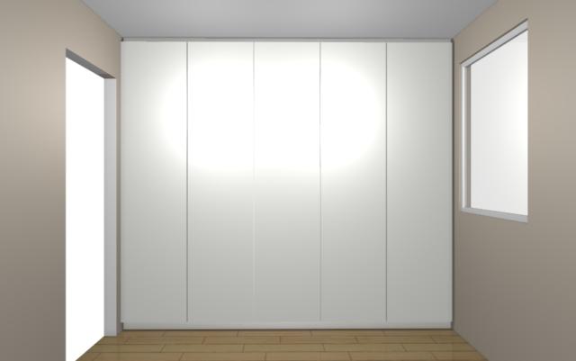 Visualisation en 3D d'un dressing blanc avec portes. Possibilité de voir le rendu en 360° avec notre casque de réalité virtuelle.