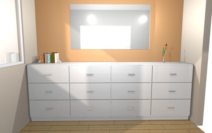 Visualisation en 3D d'un meuble bas blanc avec tiroirs. Possibilité de voir le rendu en 360° avec notre casque de réalité virtuelle.