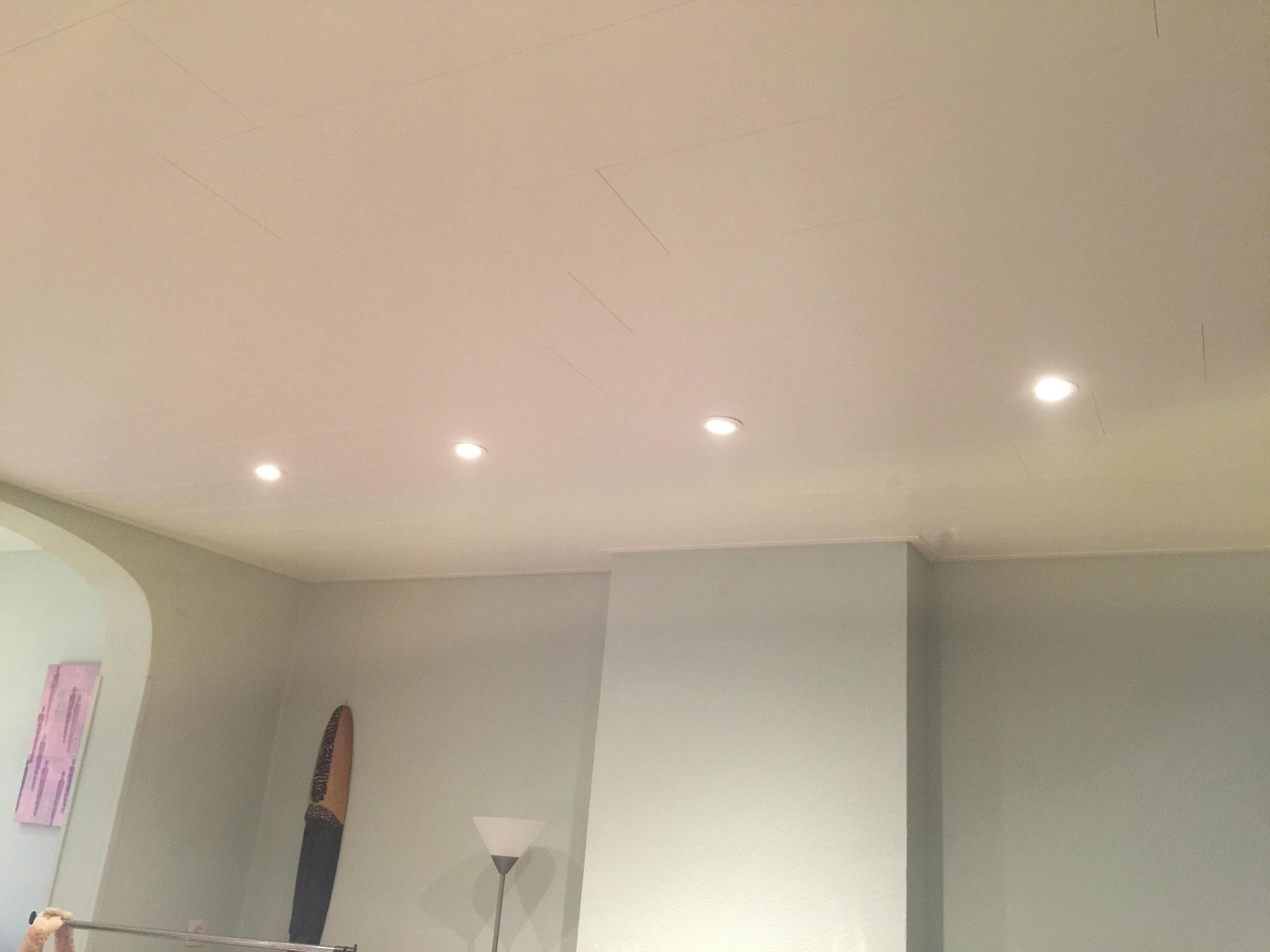 Parquet et lambris - Plafond en lambris avec luminaires
