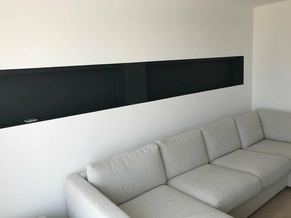 Niche murale luminaires LED chantier appartement Knokke